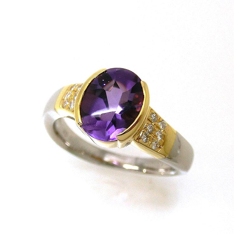 アメジスト 指輪 PT K18 天然石 オーダー リング プラチナ レディース fuk31336 ダイヤモンド お返し