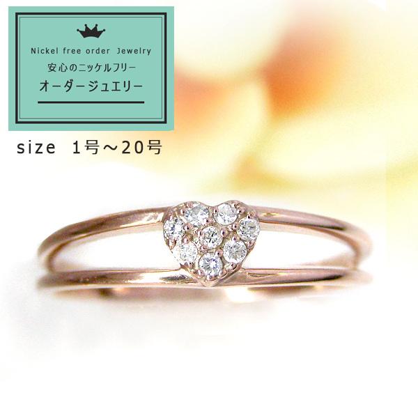 【お見積り商品】ハートモチーフリング 指輪 レディース 10金ゴールド ダイヤモンド ニッケルフリー 地金カラー全3色 1号から20号 jk-100-heart K10 (suk) お返し