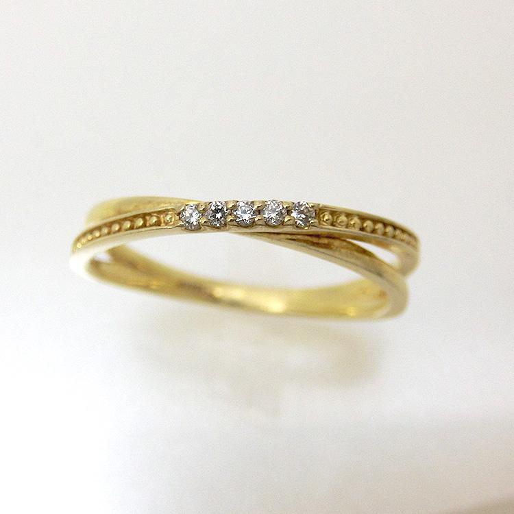 ダイヤモンド リング K10 5石 指輪 レディース 10金ゴールド 地金カラー jk5066 10金  お返し