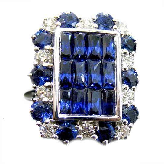 サファイア ファッションリング K18(18金)WG(ホワイトゴールド)サファイヤ(9月誕生石)(9月誕生石) ダイヤモンド 指輪 ミステリーセッティング r-s506 パワーストーン ジュエリー 天然石 宝石 ダイア 1点もの 657000(bkp50) お返し