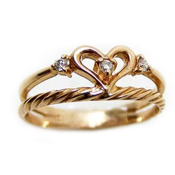 ピンキーリング 指輪 ハート ダイヤモンド 4月誕生石 K10 WG PG YG(10金ホワイト・イエロー・ピンクゴールド) ジュエリー 宝石 sm13911352 ダイアモンド お返し