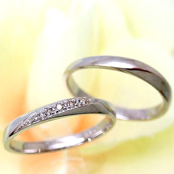 【お見積り商品】【2本セット】ペアリング マリッジリング 結婚指輪 レディース メンズ ニッケルフリー 10金ホワイトゴールド ダイヤモンド 1号から29号 yk-237-239-w K10WG (e)