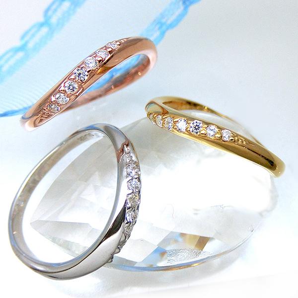 ダイヤモンド リング 結婚 指輪 K10 1号から29号 yk311 レディース (yk307set)オーダーリング カーブ 湾曲 ダイア ペア 記念日 誕生日 お返し