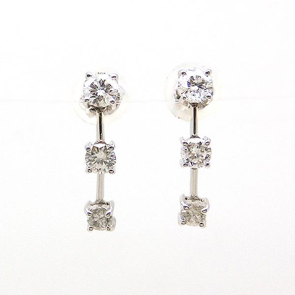 ピアス K18WG ホワイトゴールド ダイヤモンド ゆらゆら 揺れる 090566 3ストーン ジュエリー 天然石 宝石 ダイアモンド スタッド 即納 間に合う 急ぎ お返し