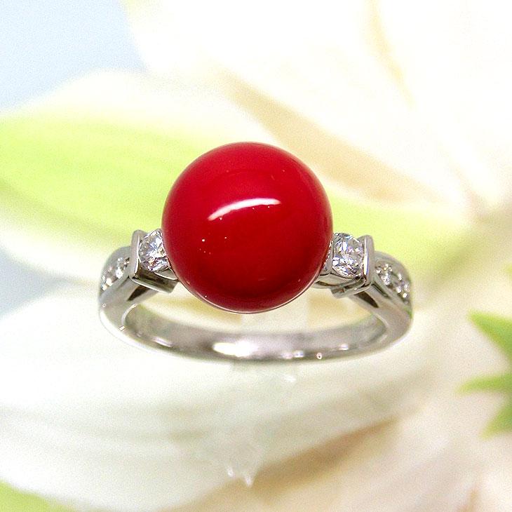 珊瑚 指輪 コーラル リング PT サンゴ 34585 プラチナ レディース さんご 8.9mm(3月誕生石)ダイヤモンド D-0.15 ジュエリー 天然石 お返し