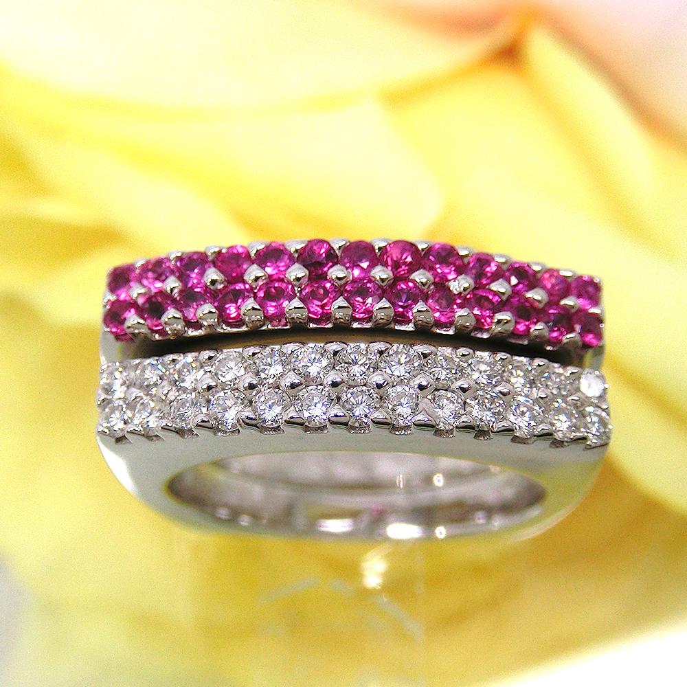 ファッションリング K18 (18金) ホワイトゴールド WG ルビー(7月誕生石) ダイヤモンド D-0.45(ダイアモンド) 2本セット 指輪 kine621921 厄除けのお守り効果(赤色) ジュエリー 天然石 お返し