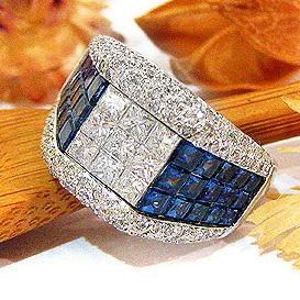 ファッションリング K18(18金)WG(ホワイトゴールド)サファイヤ サファイア (9月誕生石) ダイヤモンド 指輪 ミステリーセッティング mm1783sp パワーストーン ジュエリー 天然石 宝石 ダイアモンド 1カラット 2カラット 1点もの980000 bkp