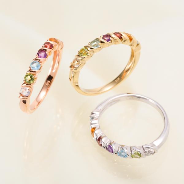 【お見積り商品】【天然石が選べる】7石 7色アミュレットリング 指輪 2.5mm レディース ニッケルフリー 10金ゴールド 地金カラー全3色 1号から20号 yk-157 K10(TGS2) 波 ウェーブ お返し