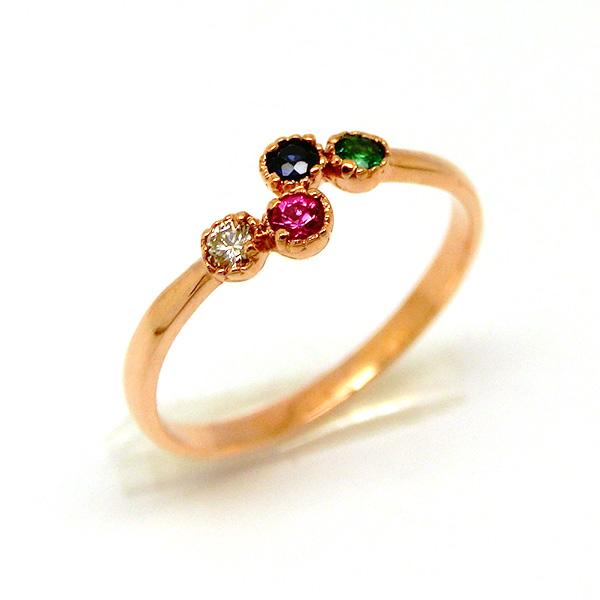 K10 リング 指輪 2mm 1.2mm 4石 ルビー ダイヤ エメラルド ブルーサファイア ニッケルフリー 10金ゴールド 地金カラー全3色 1号から20号 yk-269 天然石オーダー 誕生石(nnm) お返し