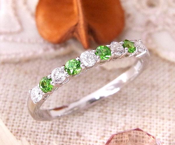 ファッションリング K18(18金)WG ホワイトゴールド デマントイドガーネット(1月誕生石) ダイヤモンド 指輪 r393 レディース パワーストーン ジュエリー 天然石 宝石 ダイアモンド 1点もの173000 お返し