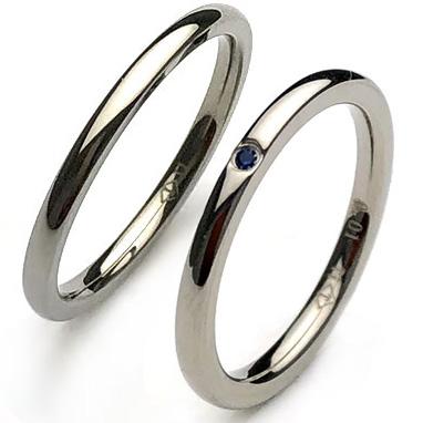天然ブルーサファイア ペアリング 純チタンリング 指輪 2本 セット ペア 刻印無料 アレルギーフリー 即納 レディース マリッジリング 結婚指輪 金属アレルギー ジュエリー es-ti06set 天然石 サムシングブルー 大きいサイズ 太い お返し
