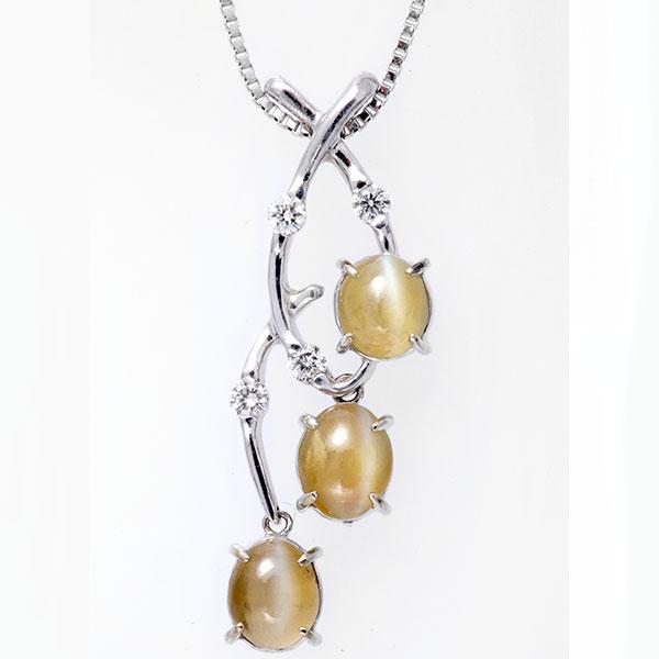 ネックレス K18(18金)WG ホワイトゴールド キャッツアイ ダイヤモンド ペンダント c2 レディース ダイヤ ジュエリー 天然石 宝石ダイアモンド 1点もの 即納 間に合う 急ぎ bkp50 お返し