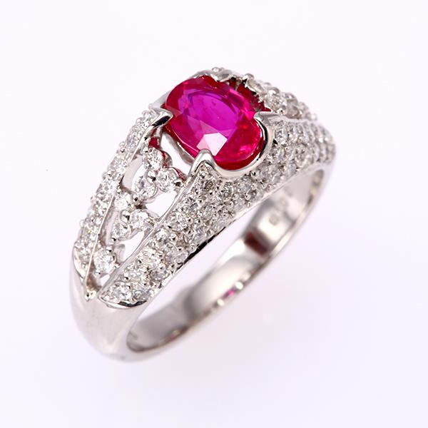 ルビー 指輪 ファッションリング PT900 プラチナ 7月 誕生石 フラワー r240501 ダイアモンド 1カラット 1点もの(bkp50)498000 お返し