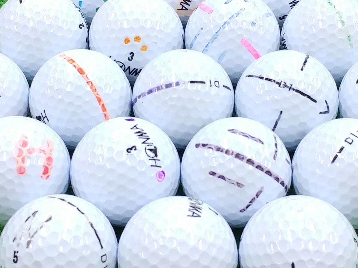 【AB落書き】本間ゴルフ D1 2016年モデル ホワイト 200個セット【あす楽】【ロストボール】【中古】