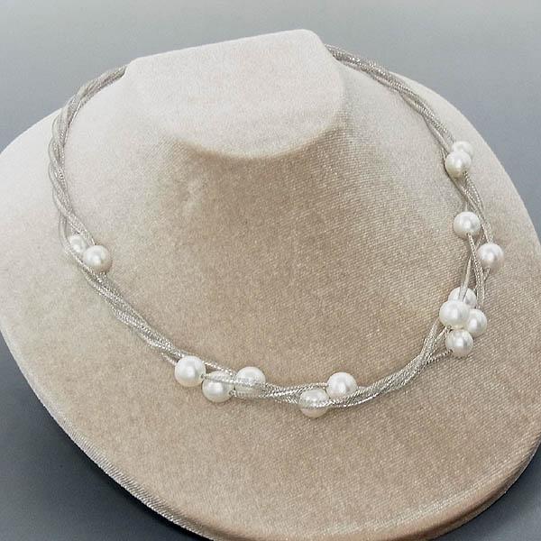 K18WG ネックレスあこや真珠 イタリー製デザインネックレス8.0~8.5mm/15.6g【新品】