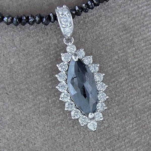 【ブラックダイヤ】ネックレスブラックダイヤネックレスK18WG/15ct/1.24ct/0.52ct/g【中古】