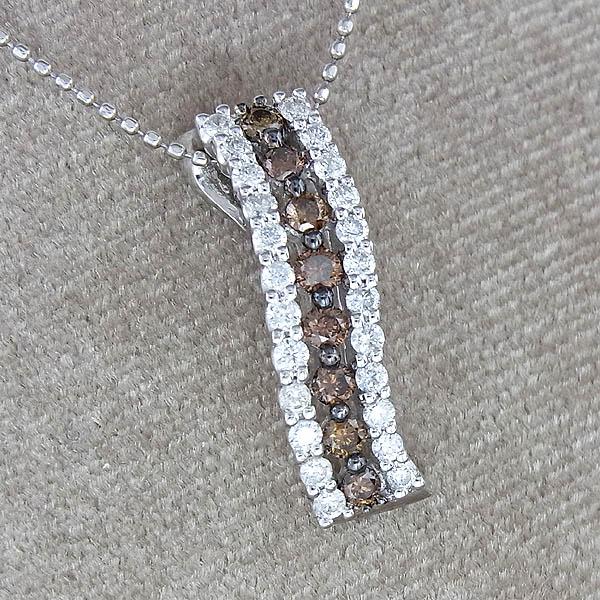 K18WGダイヤペンダント付 ネックレスD0.75ct/4.4g