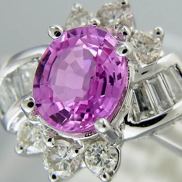 K18ピンクサファイヤ指輪PS 0.79ct/D 0.29ct 3.2g【中古】