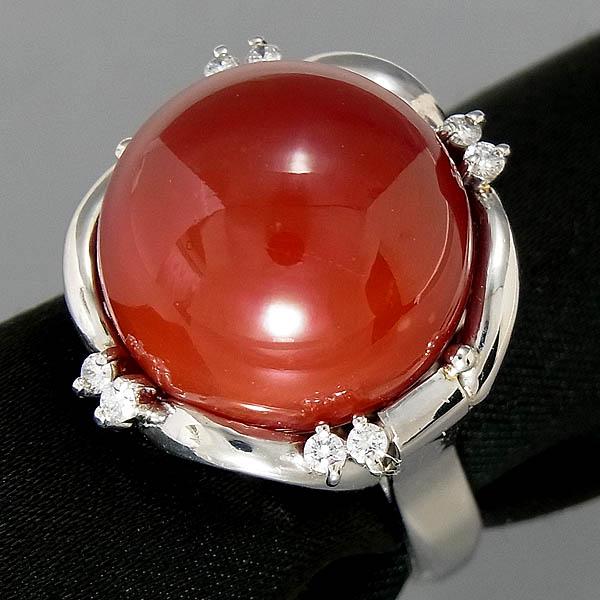Pt900血赤珊瑚指輪プラチナ 血赤サンゴリング 16mmD 0.16ct/15.1g/13号【中古】送料無料