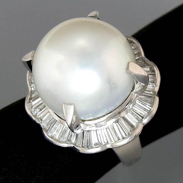 Pt900 南洋真珠指輪16mmパール・ダイヤファッションリングD:2.29ct/21.6g/10号【中古】送料無料
