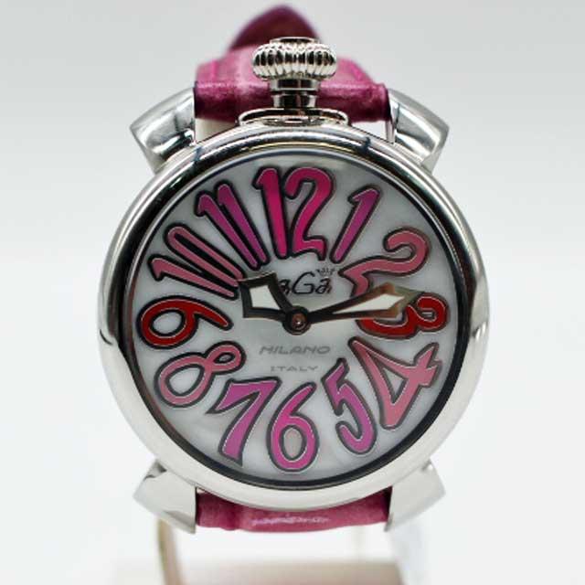 【GaGa Milano】ガガミラノユニセックス腕時計 マヌアーレ40MM 5020/ピンクベルト【中古】