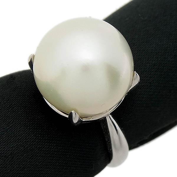 K18WG 南洋真珠指輪13.8mmパール・ファッションリング8.4g/12号【中古】