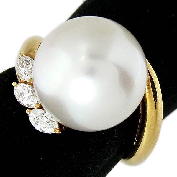 K18 南洋白蝶真珠指輪パール・ダイヤファッションリングD 0.30ct/13mm/10.1g/11号【中古】