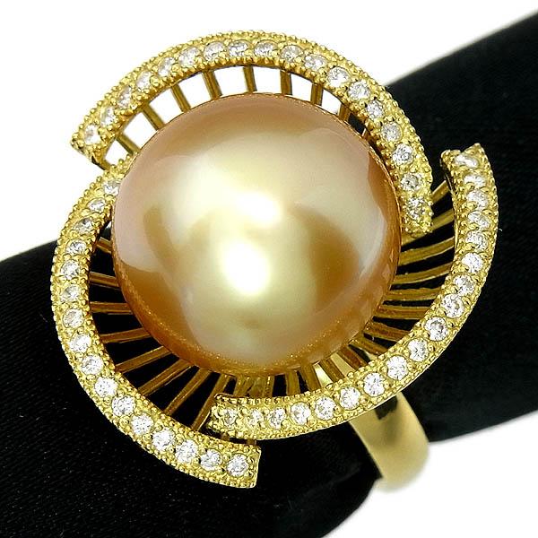 ゴールデン パールリング K18 南洋真珠指輪14.4mm/D:0.36ct/11.6g/13号【中古】