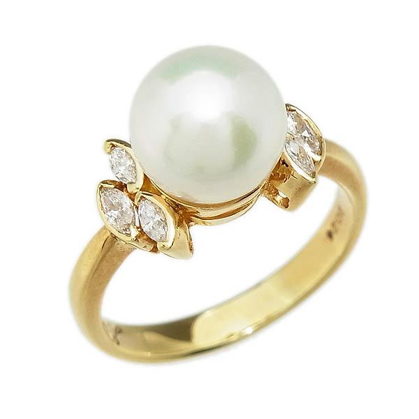 あこや真珠リングK18アコヤ真珠指輪9.1mm/D 0.24ct/5.0g/12号【中古】