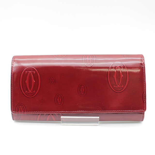 【Cartier】カルティエ ハッピーバースディ型押し 二つ折り長財布L3001281/バーガンディレッド【中古】