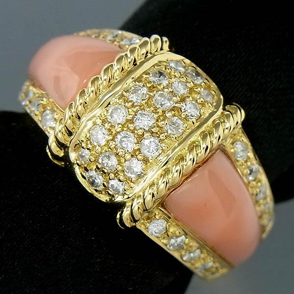 K18ピンクサンゴ指輪珊瑚ダイヤ入りファッションリングD 0.50ct/7.9g/11号【中古】送料無料