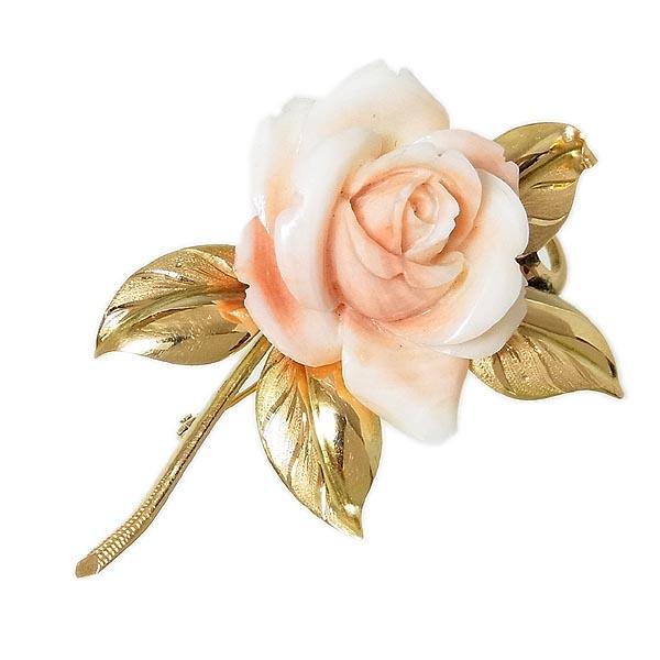 薔薇モチーフピンク珊瑚ブローチK18サンゴ さんご デザインブローチW38×H52mm/11.6g【中古】