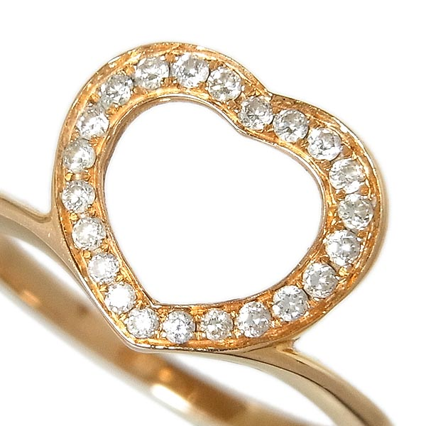 K18ダイヤ入ファッションリングハートモチーフ指輪D:0.18ct/2.3g/12号【中古】送料無料