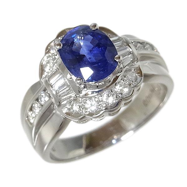 サファイヤファッションリングPt900 サファイア指輪S:1.90ct/D:0.55ct/8.5g/15号【中古】