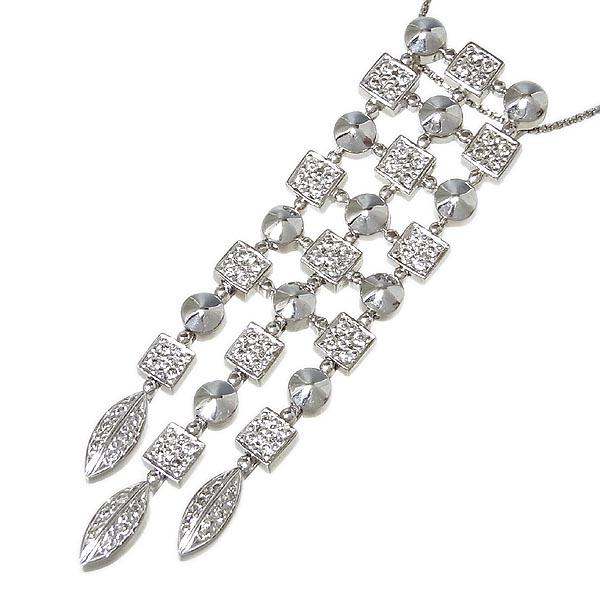 K18WGダイヤペンダントダイヤペンダント付ネックレスD:0.52ct/11.1g【中古】