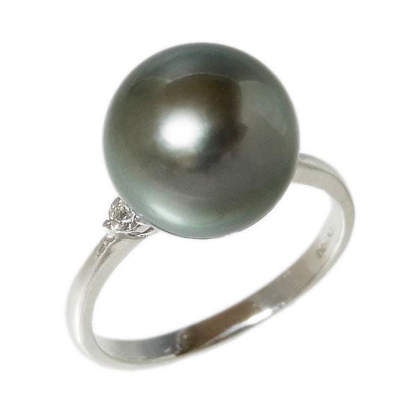Pt900 黒真珠指輪タヒチパールファッションリングD 0.07ct/11mm/4.3g/12号【中古】