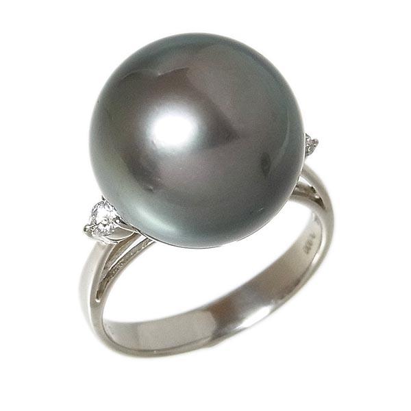 Pt900 黒真珠指輪タヒチパールファッションリング14.3mm/D:0.13ct/7.6g/13号【中古】