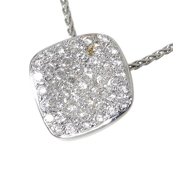 K18WGネックレスダイヤペンダント付D:0.51ct/5.43g/40-45cm【中古】送料無料