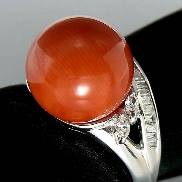 Pt900サンゴ(赤珊瑚)指輪プラチナ サンゴリング 12mm/D 0.35ct9.0g/11号【中古】送料無料