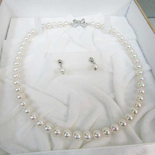 【花珠真珠】真珠ネックレス ピアス付 7.0~7.5mmK14WGクラスプ【新品】送料無料