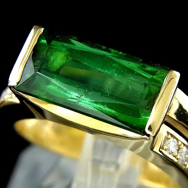 【田崎/TASAKI】 K18グリーントルマリン指輪ファッションリングTL3.11ct/D 0.11ct/7.5g/9号【中古】