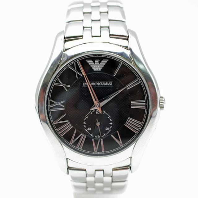 【EMPORIO ARMANI】エンポリオ アルマーニ クラシック スモールセコンド メンズ腕時計 AR-1706/ブラック 【中古】