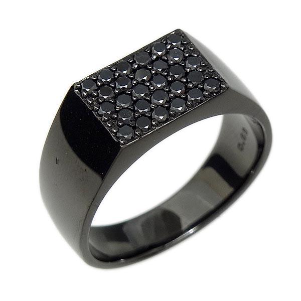 ファッションリングK18WGブラックダイヤメンズ指輪ブラックPVD加工 D0.68ct/13.8g/19号【中古】送料無料