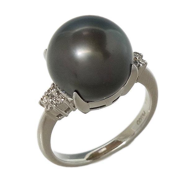 Pt900 黒真珠指輪パールファッションリングD 0.10ct/12.2mm/8.1g/11号【中古】