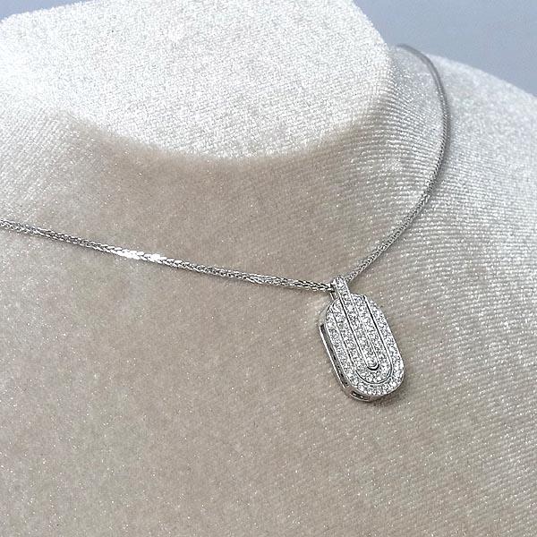 K18WGダイヤ ペンダント付ネックレスD 0.55ct/6.5g/40cm【中古】