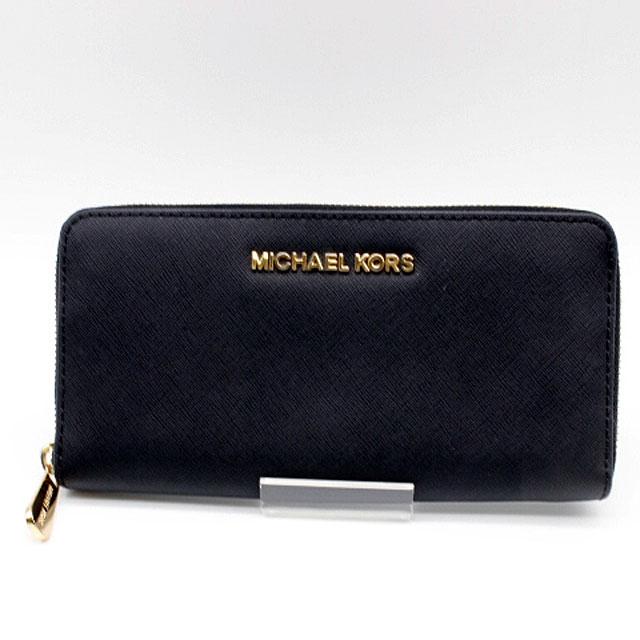 【MICHAEL KORS】マイケルコースラウンドファスナー長財布ブラック【中古】