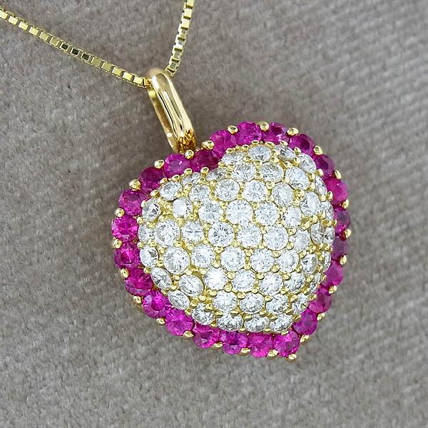 K18 ネックレスルビー ダイヤデザインネックレスD 1.90ct/R 1.33ct/9.4g【中古】