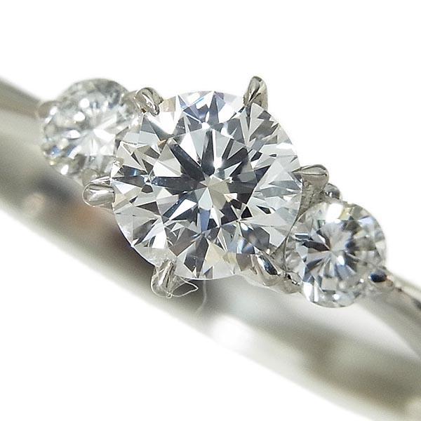 Pt900 ダイヤモンド指輪 リング D:0.287ct/0.10ct/E、VVS-2、EX、2.4g、9号【中古】送料無料