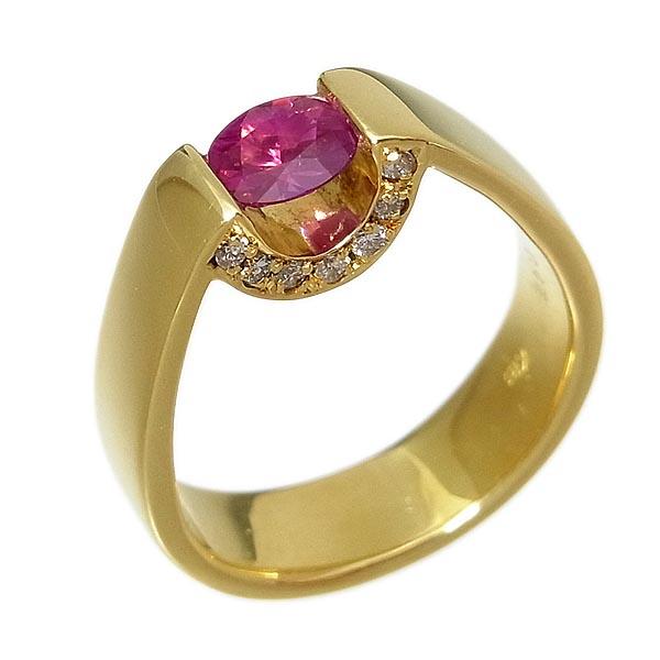 K18ルビー指輪 R:0.47ct、D:0.15ct7.7g/9.5号【中古】