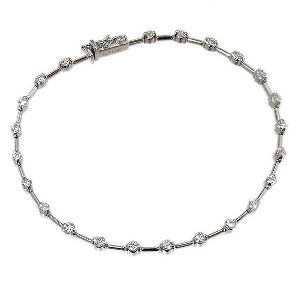デ・ビアス社 LINE ラインK18WG ダイヤ ブレスレットD1.25ct/7.5g【中古】